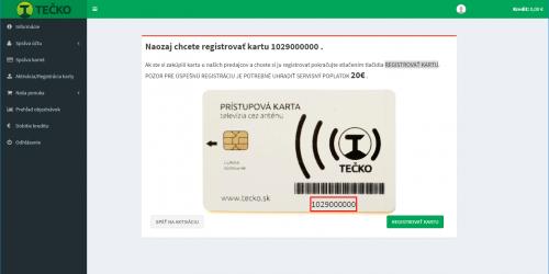 TEČKO registrácia karty