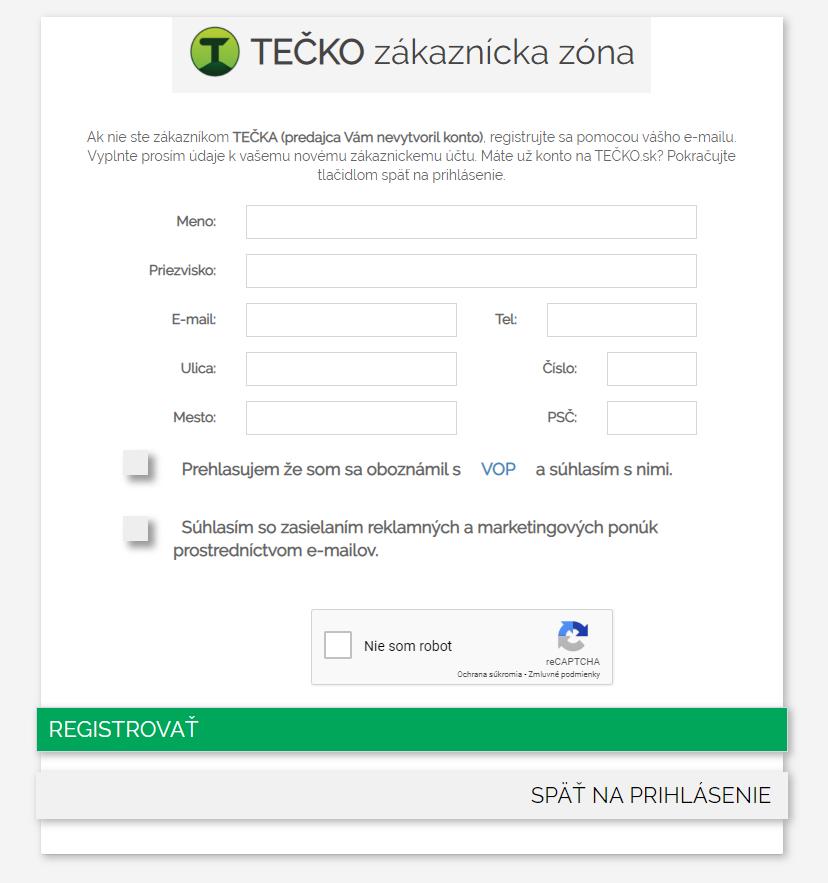 TEČKO registračný formulár